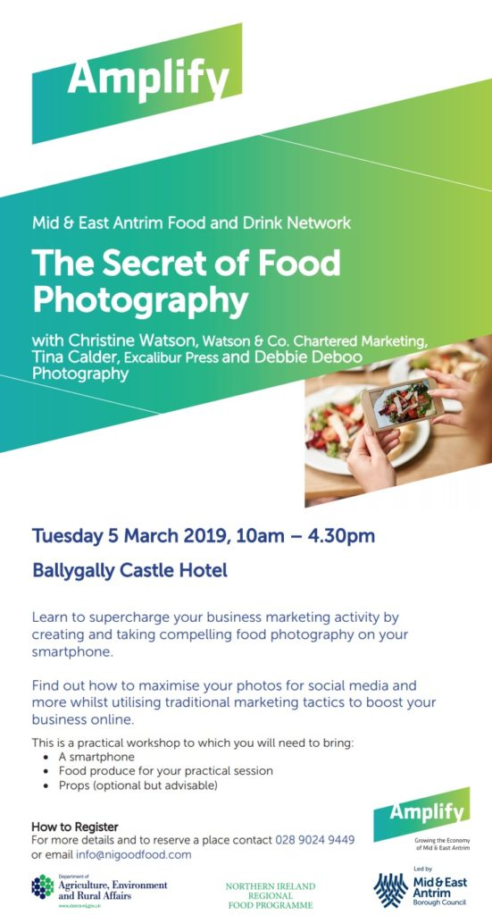 Secret of Food Photography Training Workshop by Training Matchmaker dot com trainers for Mid and East Antrim Borough Council Food Related Businesses