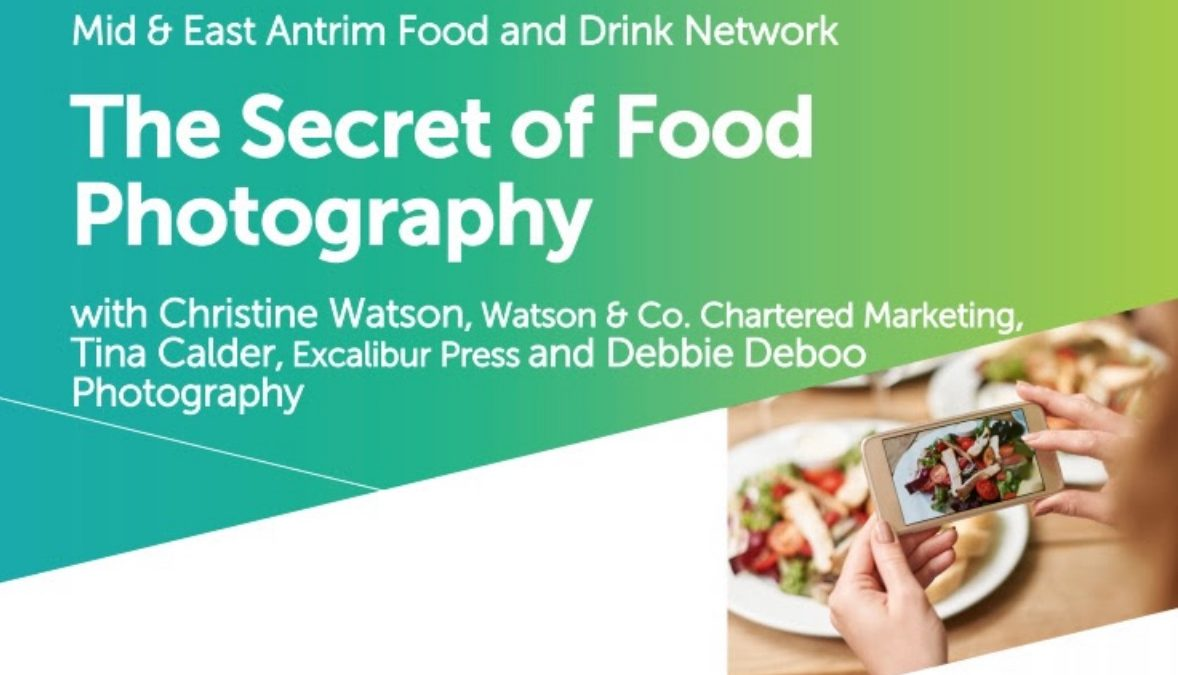 The Secret of Food Photography Training Workshop for Mid and East Antrim Borough Council by Training Matchmaker dot com promotional flyer