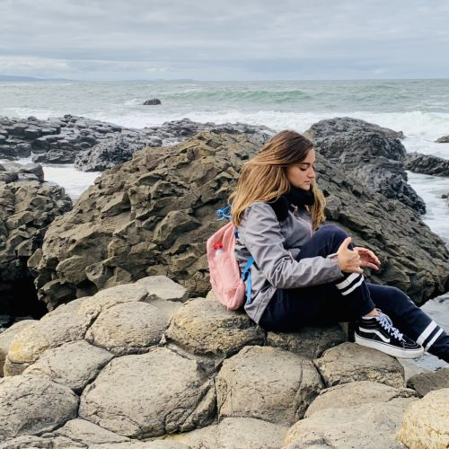 Photo of Erasmus Trainee from Italy Asya at the Giants Causeway in Northern Ireland