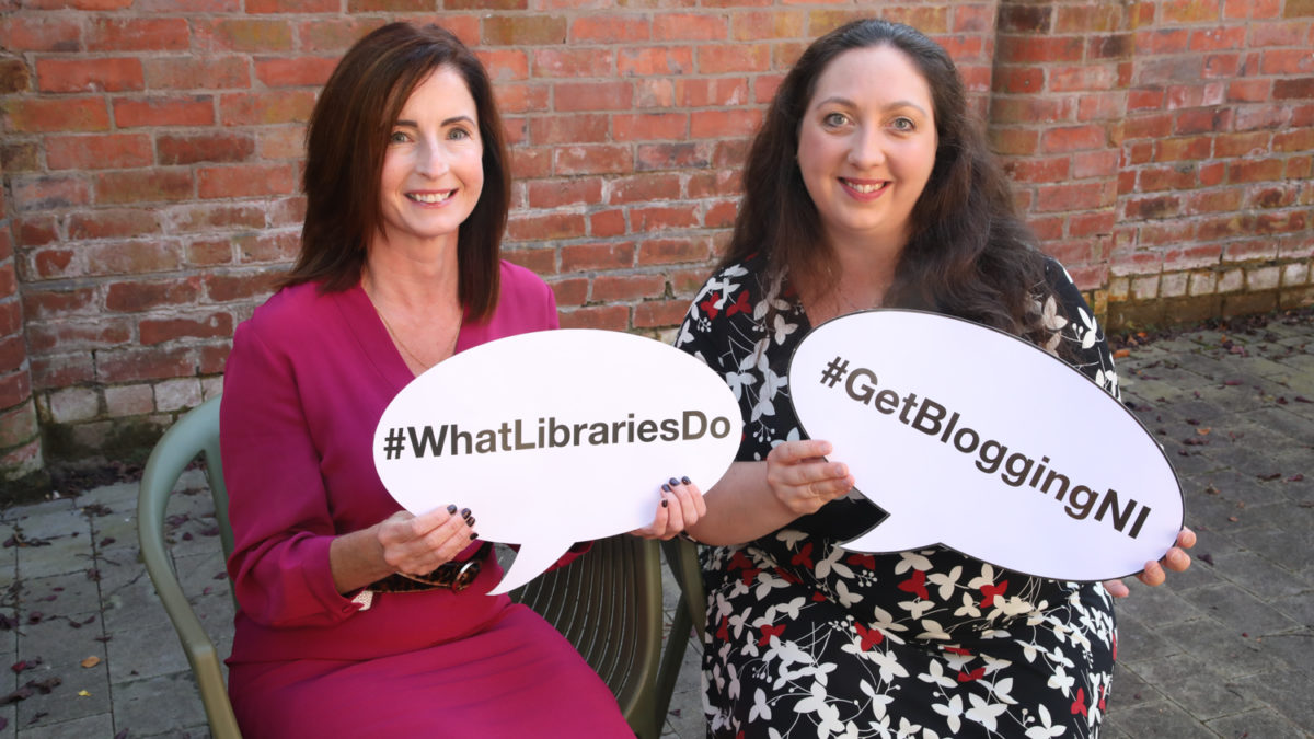 Get Blogging NI Photo of TrainingMatchmaker founder Christine with Libraries NI Julie at launch of Get Blogging NI Blogging Inspiration Session series Autumn Winter 2019