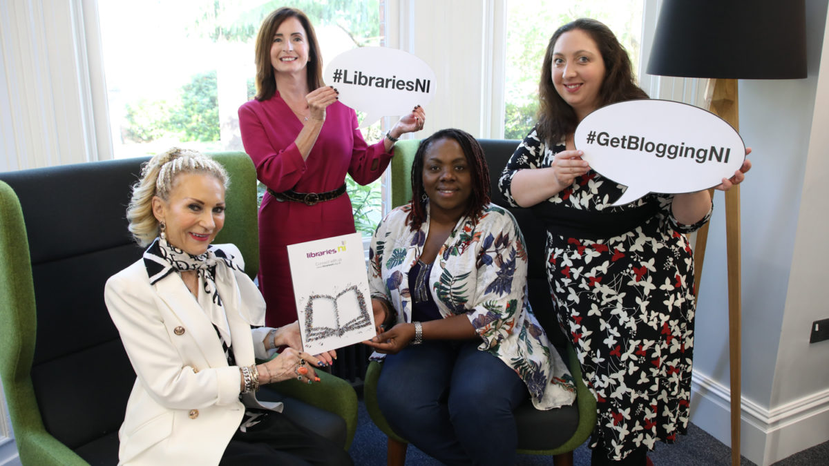Photograph of Get Blogging NI Blogging Inspiration Session speakers for Derry Central library with TrainingMatchmaker founder Christine Watson and Libraries NI