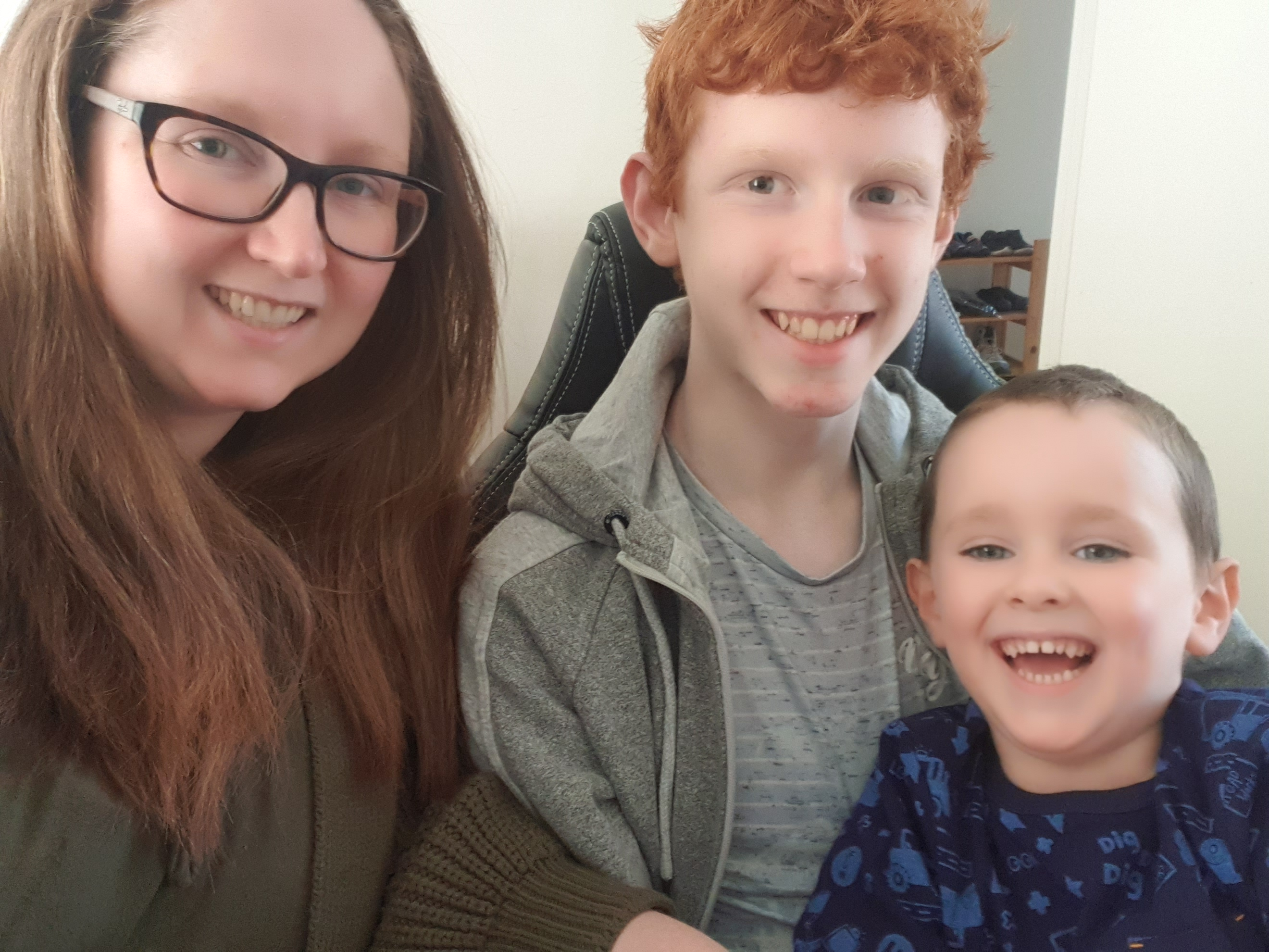 Furloughed worker south Belfast mum Debra Smyth pictured with her two sons at the start of her lockdown learning journey with make it click and training matchmaker