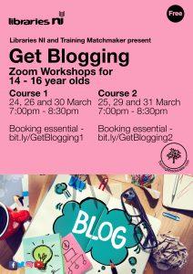 Get Blogging workshops for Libraries NI March 2021 promotional poster